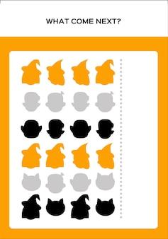 Happy halloween what come next game voor kinderen met monsters. onderwijsspel voor kinderen. vector