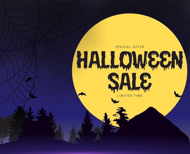 Happy halloween, winkel nu poster sjabloon op blauwe achtergrond met vleermuis en spin. vectorillustratie. eps10