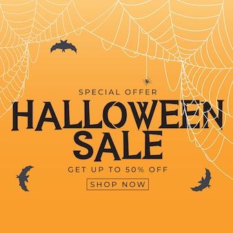 Happy halloween, winkel nu poster sjabloon op oranje achtergrond met vleermuis en spin. vectorillustratie