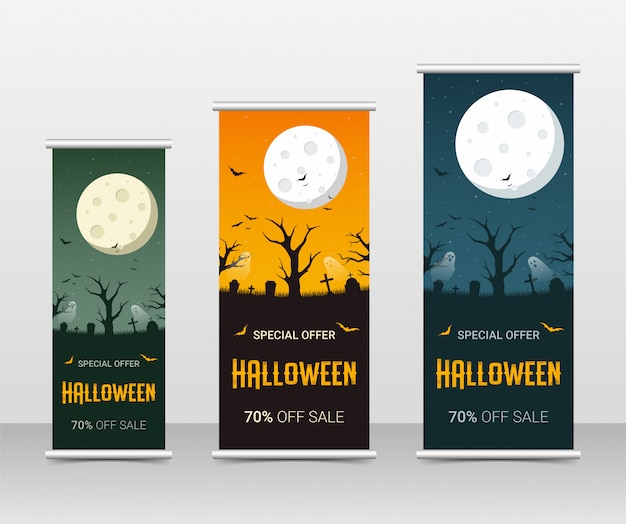Happy halloween zakelijke roll-up banner sjabloon set