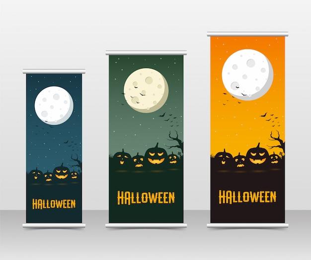 Happy halloween zakelijke roll-up sjabloon set