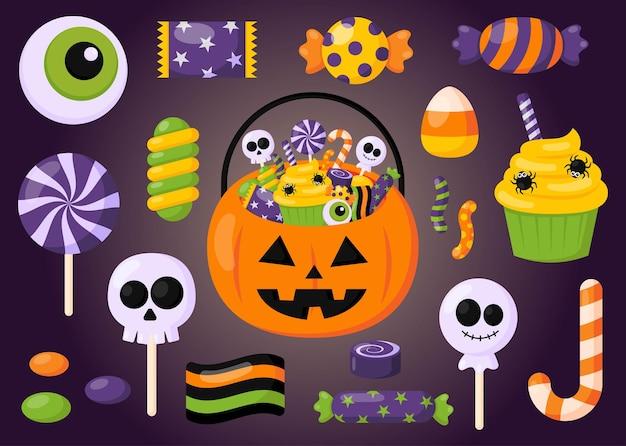 Happy halloween zoete snoep feest set geïsoleerd op paarse achtergrond