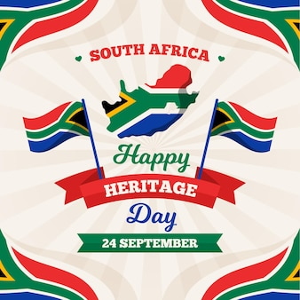Happy heritage day met kaart en vlag