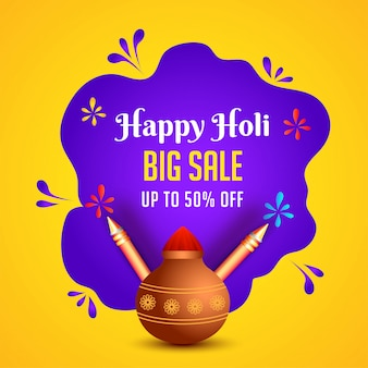 Happy holi big sale poster- of sjabloonontwerp met 50% korting