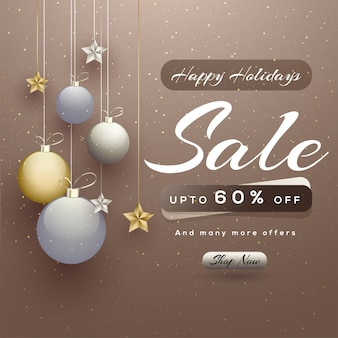 Happy holidays sale banner.