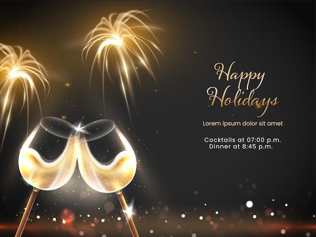 Happy holidays viering concept met 3d-wijnglazen en vuurwerk