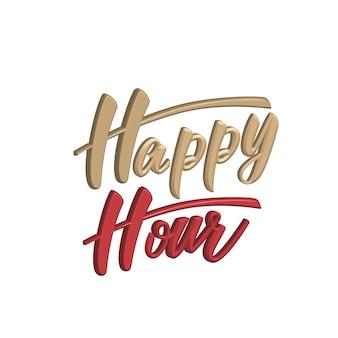 Happy hour 3d belettering van ontwerp