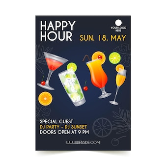 Happy hour a5 flyer-sjabloon
