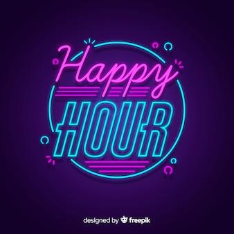 Happy hour aanbieding met neon bord