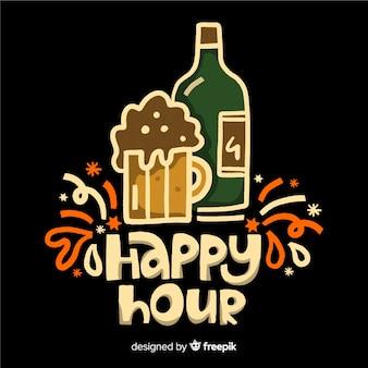 Happy hour belettering op platte ontwerp