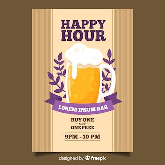 Happy hour bier poster met platte ontwerp