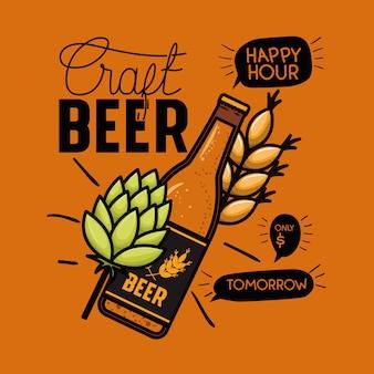 Happy hour bieren label met fles en bladeren