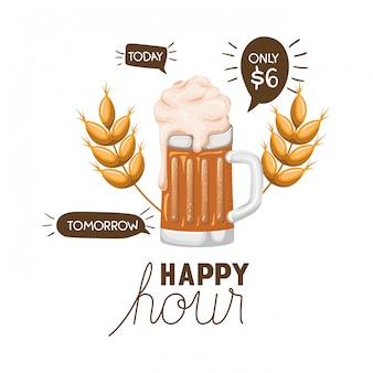 Happy hour label met bier geïsoleerd pictogram