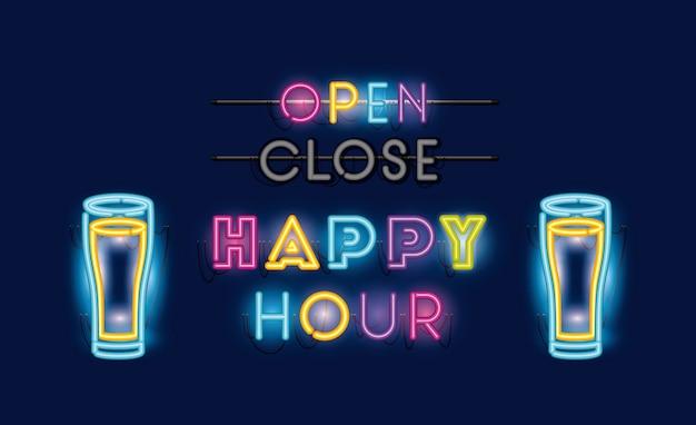 Happy hour met bierflesjes lettertypen neonlichten