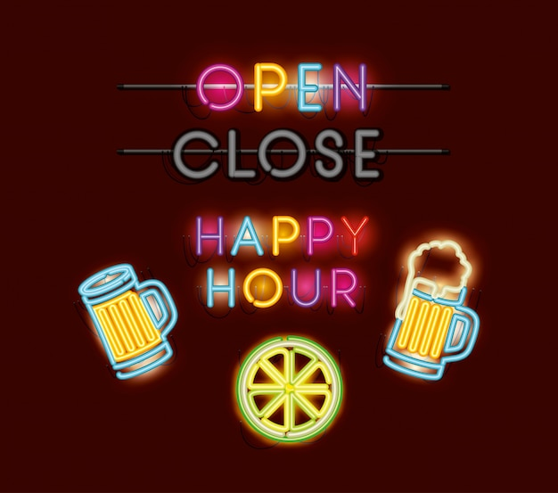 Happy hour met biertjes fonts neonlichten