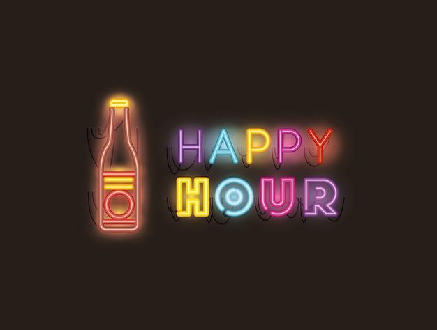 Happy hour met neonlichten van bierfleslettertypen