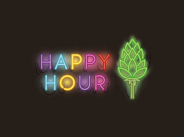 Happy hour met neonlichten van spike fonts
