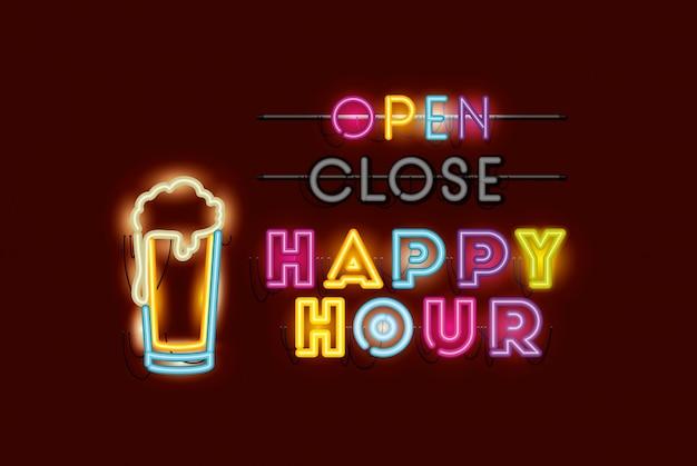 Happy hour met neonlichten voor bierpotfonts