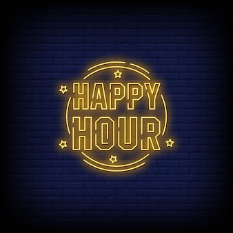 Happy hour neon ondertekent tekst vectorstijl