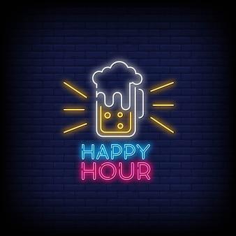 Happy hour neon ondertekent tekststijl