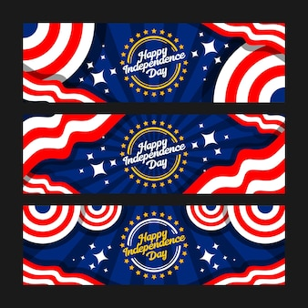 Happy independence day 4 juli banner set