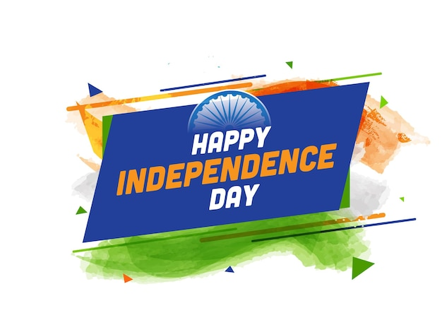 Happy independence day-tekst met ashoka-wiel en penseeleffect