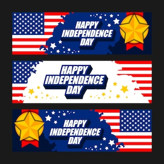 Happy independence day viering banner set