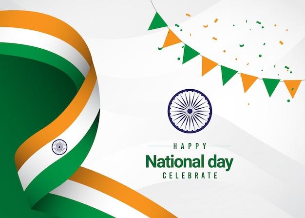Happy india independence day en de viering van de dag van de republiek.
