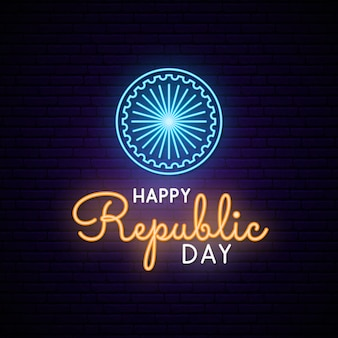 Happy india republic day neon ontwerp.