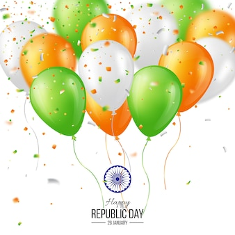 Happy indian republic day viering poster of banner achtergrond, kaart. drie kleur ballonnen met confetti. vector illustratie.