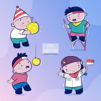 Happy indonesia independence day-set, traditioneel spel op augustus, crackers eten, ballonnen blazen, stelten racen