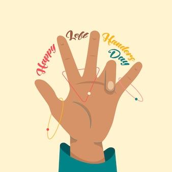 Happy international left handers day - 13 augustus - sjabloon voor vierkante spandoek. linker palm, slogan tussen de vingers en planeetachtige banen eromheen. sinistrality vieren.