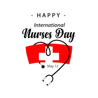 Happy international nurses day vector sjabloonontwerp