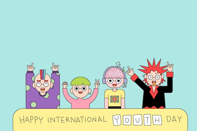 Happy international youth day achtergrond
