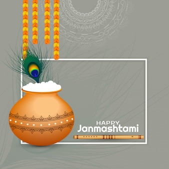 Happy janmashtami religieuze festival decoratieve kaart