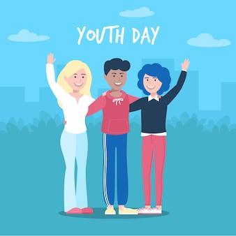 Happy jeugddag vrienden zwaaien met hun handen