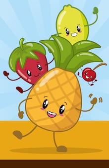 Happy kawaii fruit emoji's