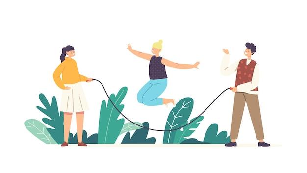 Happy kids jongens en meisjes personages spelen met springtouw. sportrecreatie, buiten actieve vrije tijd, fysieke activiteit in de tuin met vrienden in de zomer. cartoon mensen vectorillustratie