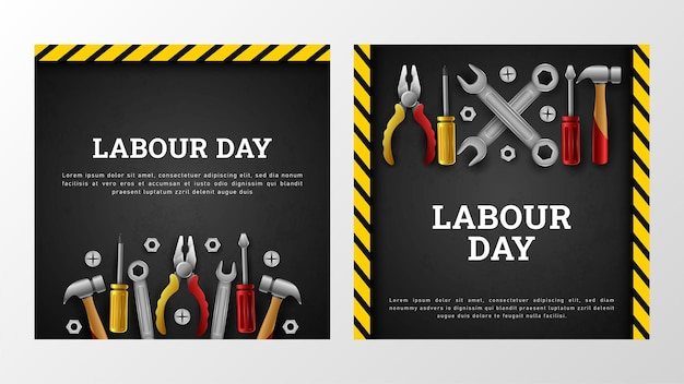 Happy labor day-achtergrond met amerikaanse vlag yellow stripe and tools