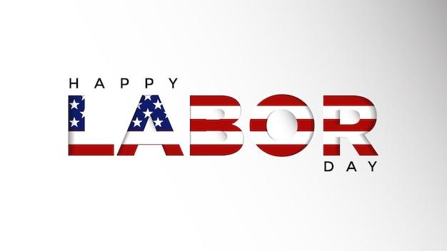 Happy labor day-achtergrond met amerikaanse vlagsjabloon