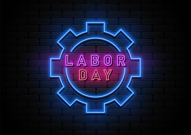 Happy labor day-achtergrond met neonlicht