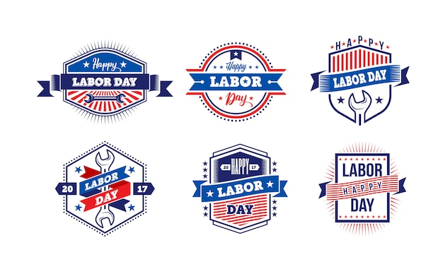 Happy labor day.america labor day labels of badges