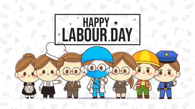 Happy labor day karakter hand getekende cartoon kunst illustratie