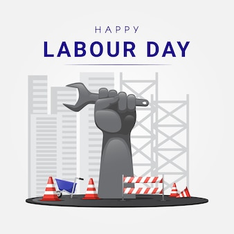 Happy labor day-standbeeld met constructie-elementen