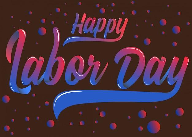 Happy labor day vloeibare typografie