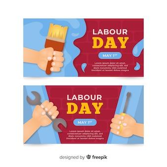 Happy labour day platte banner voor web- en sociale media