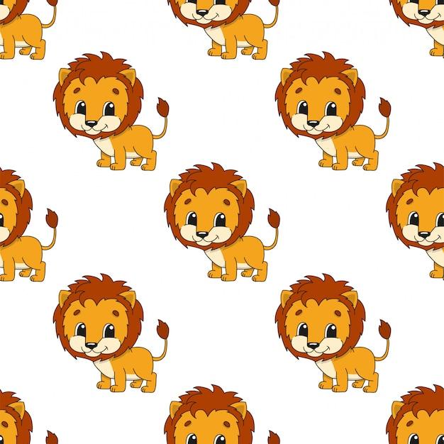 Happy leeuw cartoon naadloze patroon