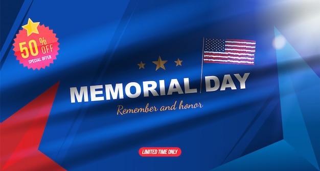 Happy memorial day. groetkaart met de vlag van de vs op achtergrond met lichteffect