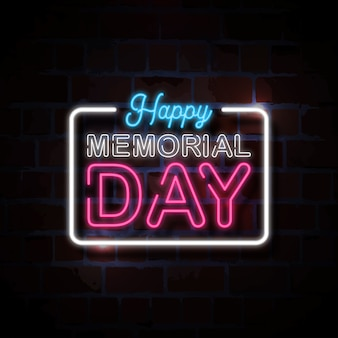 Happy memorial day neon stijl teken illustratie
