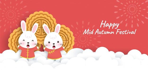 Happy mid autumn festival banner met schattige konijnen in papierstijl knippen.